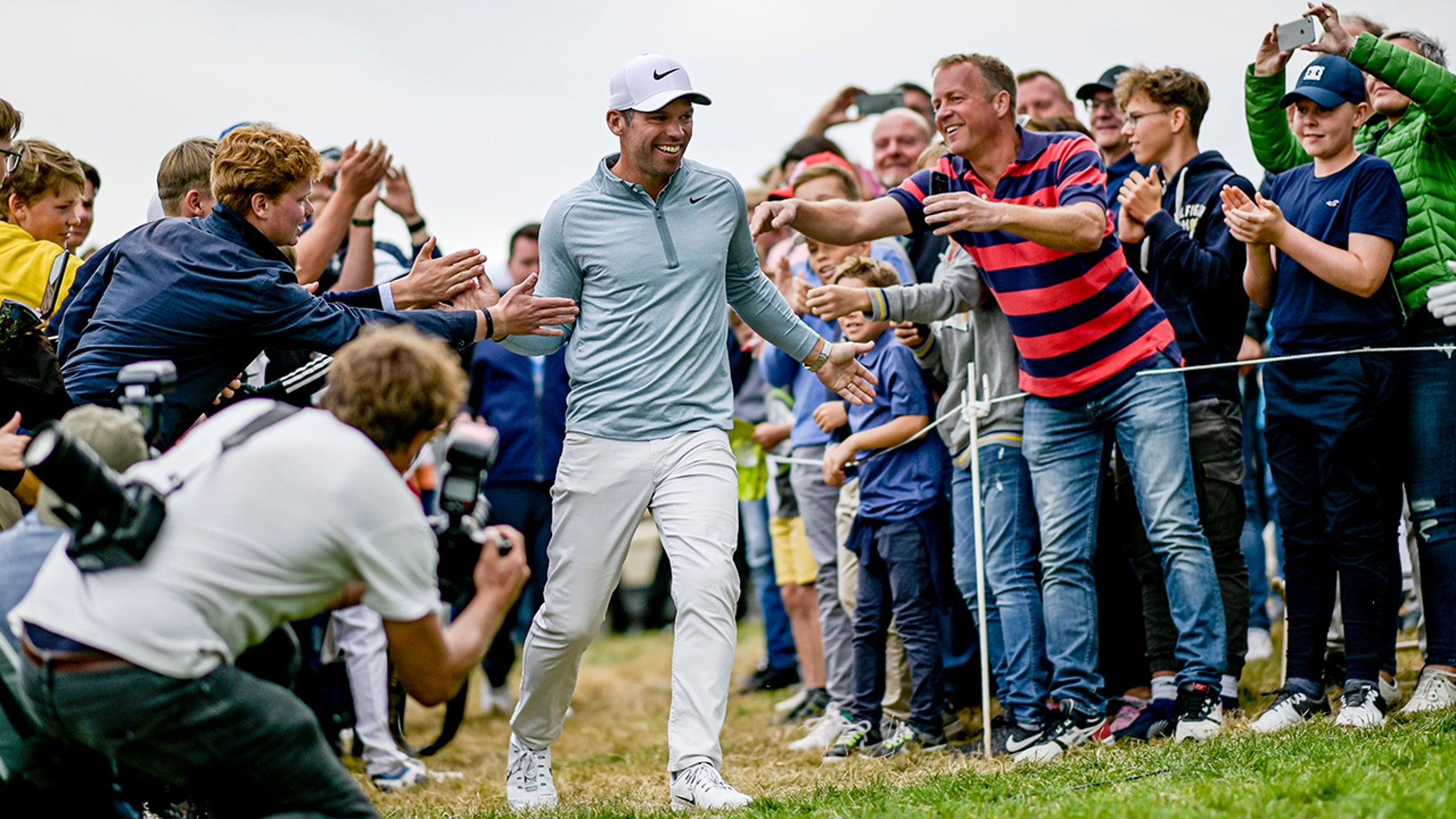 England's Pauls Casey celebrates after winning the European Open golf tournament, in Hamburg, Germany, Sunday Sept. 8, 2019. (Axel Heimken/dpa via AP)