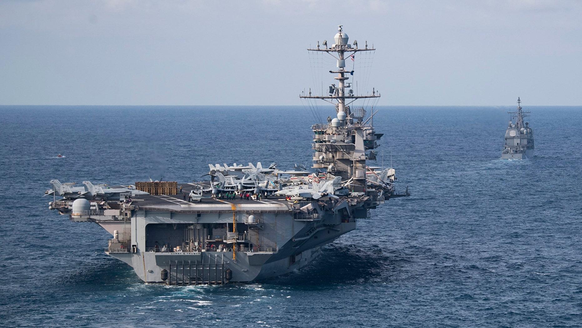 The Nimitz-class aircraft carrier USS Harry S. Truman, front - file photo.