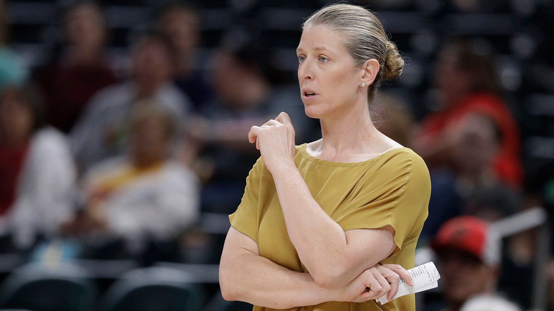 FILE - In this Aug. 20, 2019, file photo, New York Liberty coach Katie Smith watches during the second half of the team's WNBA basketball game against the Indiana Fever in Indianapolis. (AP Photo/Darron Cummings, File)
