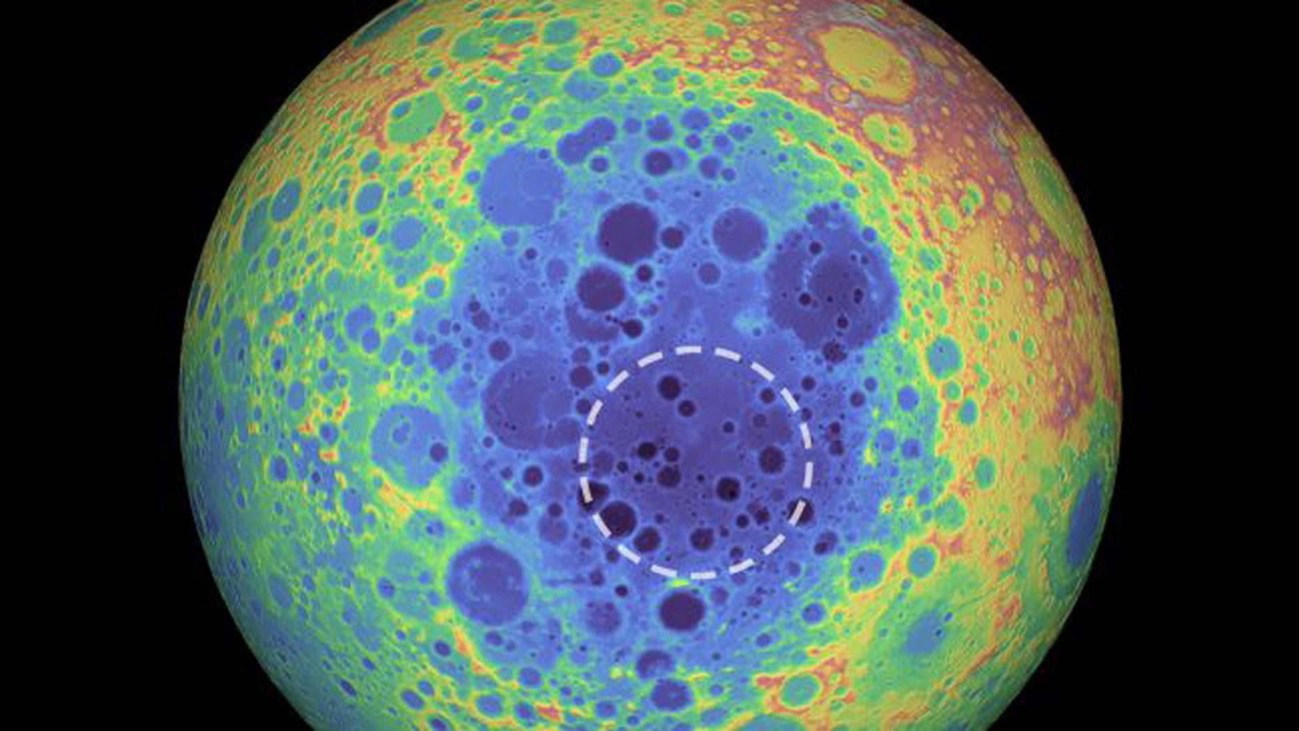 The South Pole-Aitken basin (represented by the shades of blue at the center) stretches 1,550 miles (2,500 kilometers) across and is one of the solar system's largest craters. The dashed circle indicates the spot where researchers found a weird material beneath the basin that contains metal. (Credit: NASA/Goddard Space Flight Center/University of Arizona)