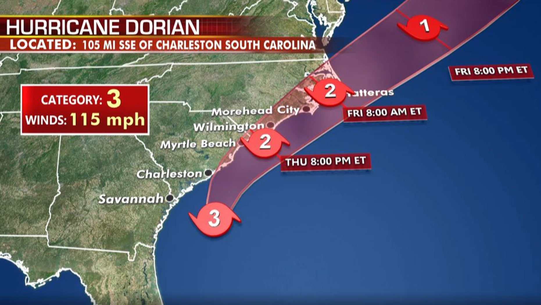 Westlake Legal Group hurricane-dorian-11pm-wed-update-cat-3 Hurricane Dorian regains strength as Category 3 storm as Carolinas brace for impact fox-news/columns/fox-news-first fox news fnc/us fnc article 065ff383-66f8-5d5d-9413-c3b2267286f1