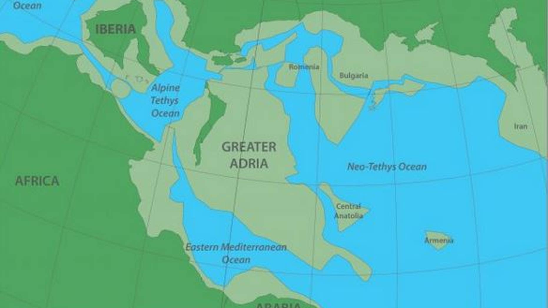 Greater Adria as it existed 140 million years ago, before sliding beneath what is now southern europe. The darker green areas depict the land above the water and the lighter green, the land below. (Image: © Douwe van Hinsbergen)