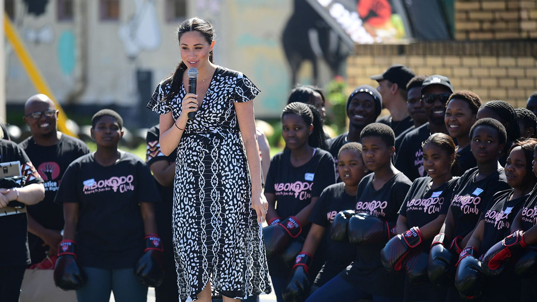 Meghan, Duchess of Sussex makes a speech as she visits a Justice Desk initiative in Nyanga township with Prince Harry, Duke of Sussex, during their royal tour of South Africa on September 23, 2019 in Cape Town, South Africa.