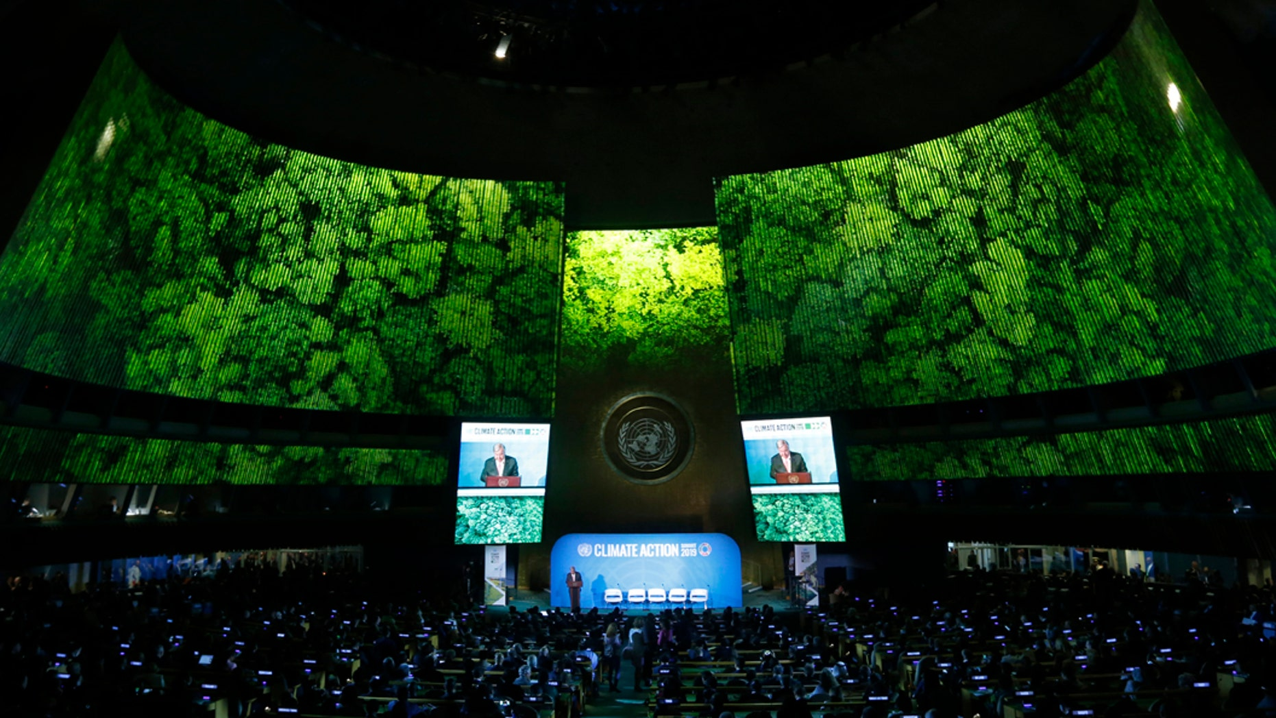 Secretary-General Antonio Guterres addresses the Climate Summit in the United Nations General Assembly at U.N. headquarters, Monday, Sept. 23, 2019. (AP Photo/Jason DeCrow)