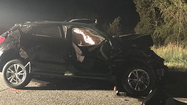 Pictured is one of the vehicles involved in the three-car crash Wednesday. Country singer Kylie Rae Harris, reportedly at fault for the accident, died in the crash. She also killed a 16-year-old girl, Maria Elena Cruz, whose father was a first responder on the scene of the accident.