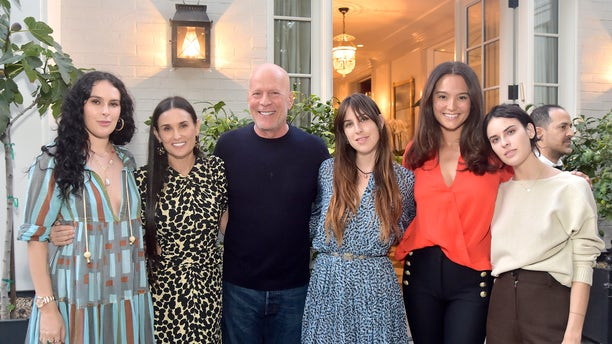 "Rumer Willis, Demi Moore, Bruce Willis, Scout Willis, Emma Heming Willis and Tallulah Willis attend Demi Moore's ""Inside Out"" book launch party on Sept. 23, 2019 in Los Angeles."