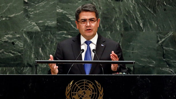 Honduras President Juan Orlando Hernandez Alvarado addresses the United Nations General Assembly Wednesday. (AP Photo/Richard Drew)