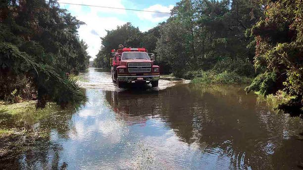 The Ocracoke Volunteer Fire Department makes rounds through the village on Friday, Sept. 6, 2019 on Ocracoke Island, N.C., in the aftermath of Hurricane Dorian.