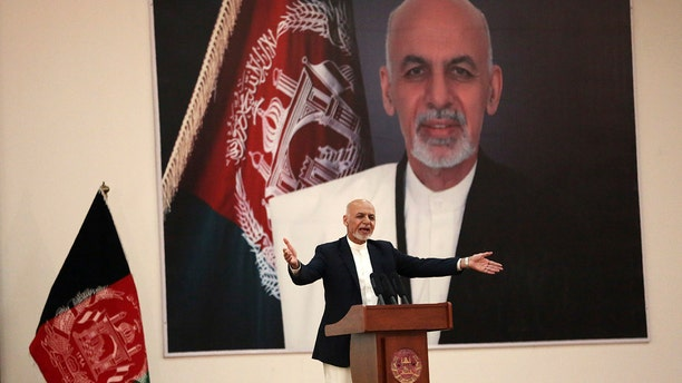 Afghan President Ashraf Ghani speaks during a ceremony to introduce the new chief of the intelligence service, in Kabul, Afghanistan.