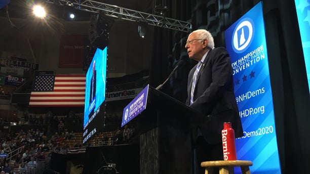 Sen. Bernie Sanders of Vermont speaks at the New Hampshire Democratic Party's annual convention in Manchester on Saturday.