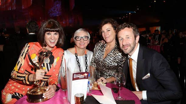 "Dawn O'Porter, left, Donna French, Nina Gold and Chris O'Dowd, winner of the award for outstanding short-form comedy or drama for ""State of the Union,"" attend the Governors Ball during Night 2 of the Television Academy's 2019 Creative Arts Emmy Awards last Sunday in L.A."