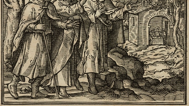 The disciples of Emmaus, Gospel of Luke, engraving from Evangelia Arabice et Latine (Gospels in Arabic and Latin), Tipografia Medicea, Rome, 1591. (Photo by Icas94 / De Agostini Picture Library via Getty Images)