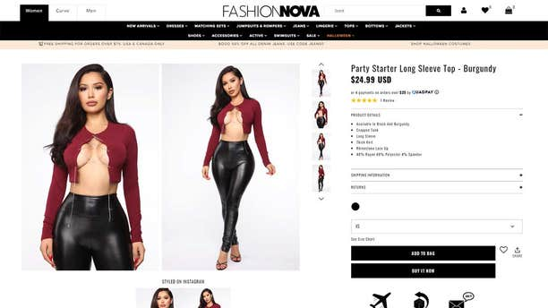 """The """"Party Starter Long Sleeve Top,"""" which sells for $24.99, is described as a cropped tank with a rhinestone lace-up."""