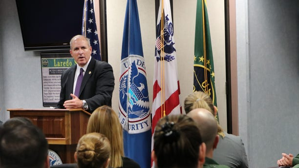 Acting Customs and Border Protection Commissioner Mark Morgan speaks to agents in Laredo, Texas. (Adam Shaw/Fox News)