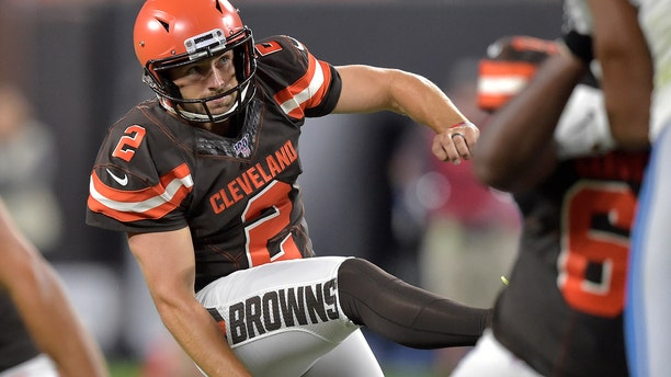 Cleveland Browns Austin Seibert watches his 33-yard field goal during the second half of the team's NFL preseason football game against the Detroit Lions on Aug. 29, 2019, in Cleveland. (AP Photo/David Richard)
