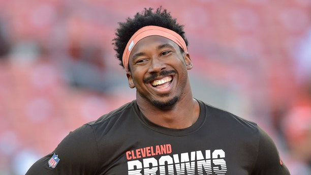 Cleveland Browns defensive end Myles Garrett before an NFL preseason football game against the Detroit Lions on Aug. 29, 2019, in Cleveland. (AP Photo/David Richard, File)