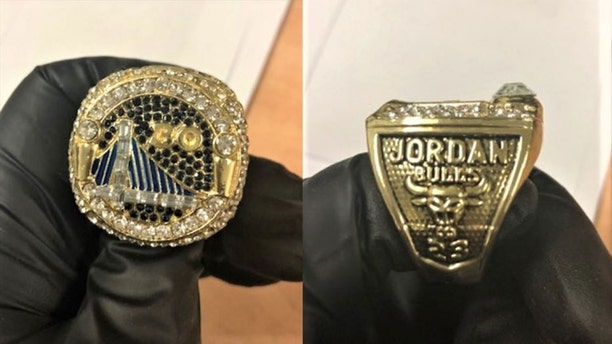 U.S. Customs and Border Protection officers in California recently seized more than two dozen counterfeit NBA championship rings, with an estimated retail value of more than half a million dollars, authorities said Wednesday.