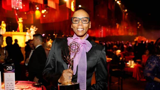 "RuPaul poses with his award for outstanding host for a reality or competition program for ""RuPaul's Drag Race"" at the Governors Ball during Night 1 of the Television Academy's 2019 Creative Arts Emmy Awards on Sept. 14."