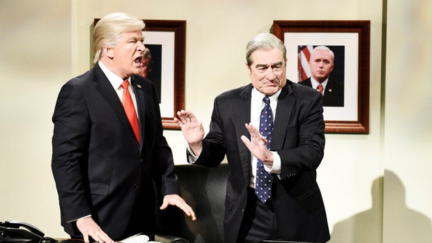 "SATURDAY NIGHT LIVE -- ""Sandra Oh"" Episode 1762 -- Pictured: (l-r) Alec Baldwin as Donald Trump and Robert De Niro as Robert Mueller during the ""Mueller Report"" Cold Open on Saturday, March 30, 2019 -- (Photo by: Will Heath/NBC)"