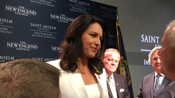Democratic presidential candidate Rep. Tulsi Gabbard of Hawaii speaks with voters after headlining 'Politics and Eggs' at the New Hampshire Institute of Politics, on Thursday September 5, 2019 in Manchester.