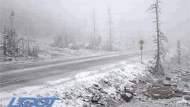 Snow can be seen falling in the Bald Mountain Pass area of Utah, located in the Uinta-Wasatch-Cache National Forest.