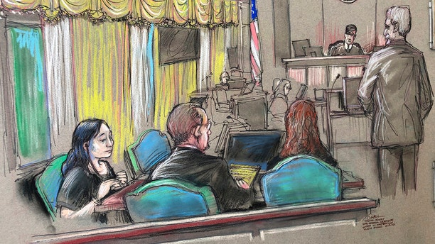 In this April 15 court sketch, Yujing Zhang, left, a Chinese woman charged with lying to illegally enter President Trump's Mar-a-Lago Club, at a hearing in West Palm Beach, Fla. (Daniel Pontet via AP, File)