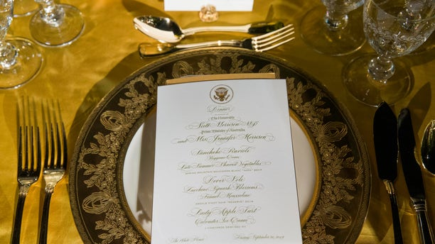 A table is set during a media preview for the state dinner (AP Photo/Alex Brandon)