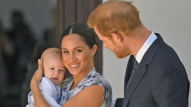 Prince Harry, Duke of Sussex and Meghan, Duchess of Sussex and their baby son Archie Mountbatten-Windsor at a meeting with Archbishop Desmond Tutu at the Desmond & Leah Tutu Legacy Foundation during their royal tour of South Africa on September 25, 2019, in Cape Town, South Africa.