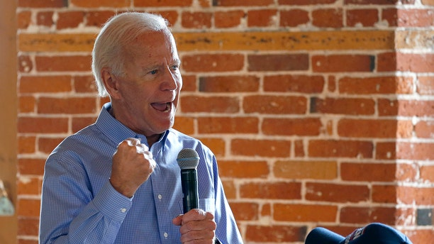 Democratic presidential candidate former Vice President Joe Biden pumps his fist as he speaks during a campaign stop, Friday, Sept. 6, 2019, in Laconia, N.H. (Associated Press)