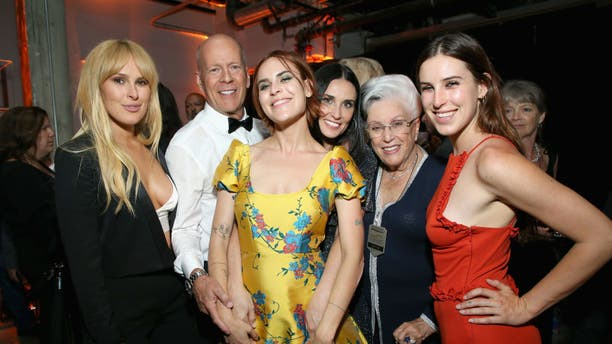 Rumer Willis, Bruce Willis, Tallulah Belle Willis, Demi Moore, Marlene Willis and Scout LaRue Willis attend the after party for the Comedy Central Roast of Bruce Willis at NeueHouse on July 14, 2018, in Los Angeles.