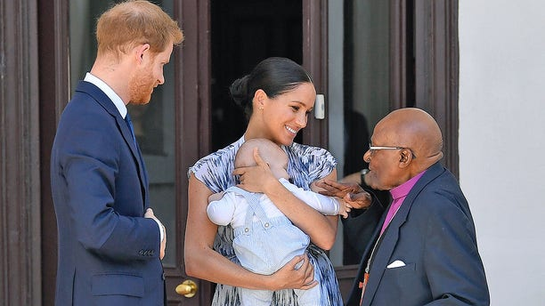 Prince Harry, Duke of Sussex, Meghan, Duchess of Sussex and their baby son Archie Mountbatten-Windsor meet Archbishop Desmond Tutu and his daughter Thandeka Tutu-Gxashe at the Desmond & Leah Tutu Legacy Foundation during their royal tour of South Africa.