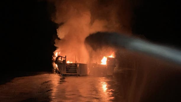 """The Conception was """"entirely engulfed with flames"""" when the U.S. Coast Guard arrived on scene Monday."""