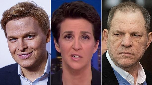 MSNBC's Rachel Maddow celebrated Harvey Weinstein reporting despite her bosses punting on Ronan Farrow's award-winning efforts.
