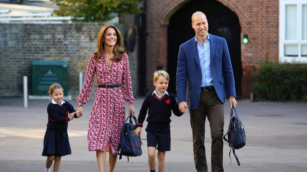 Princess Charlotte arrives for her first day of school, with her brother Prince George and her parents the Duke and Duchess of Cambridge, at Thomas's Battersea in London on Sept. 5, 2019, in London.