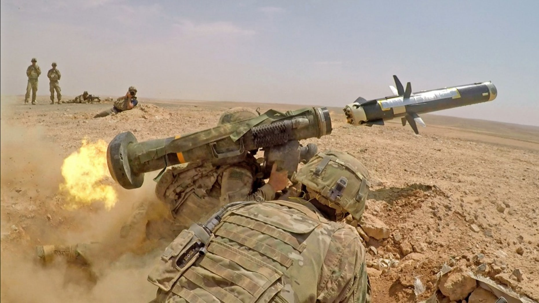 Infantry Soldiers with 1st Battalion, 8th Infantry Regiment, 3rd Armored Brigade Combat Team, 4th Infantry Division, glow an FGM-148 Javelin during a total arms live glow practice in Jordan on Aug 27, 2019, in support of Eager Lion - record photo.