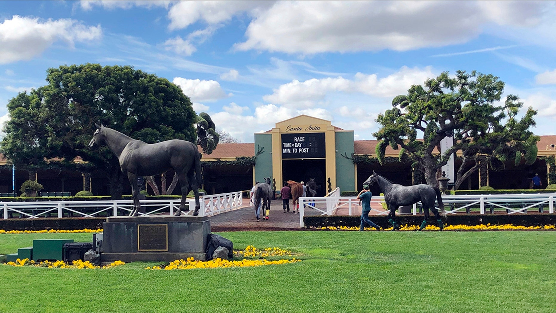 FILE - In this March 28, 2019, file photo, horses are led to paddocks past the Seabiscuit statue during workouts at Santa Anita Park in Arcadia, Calif. A 3-year-old gelding was fatally injured in the fifth race at Santa Anita on Saturday, becoming the 34th horse to die at the track since December. (AP Photo/Amanda Lee Myers, File)