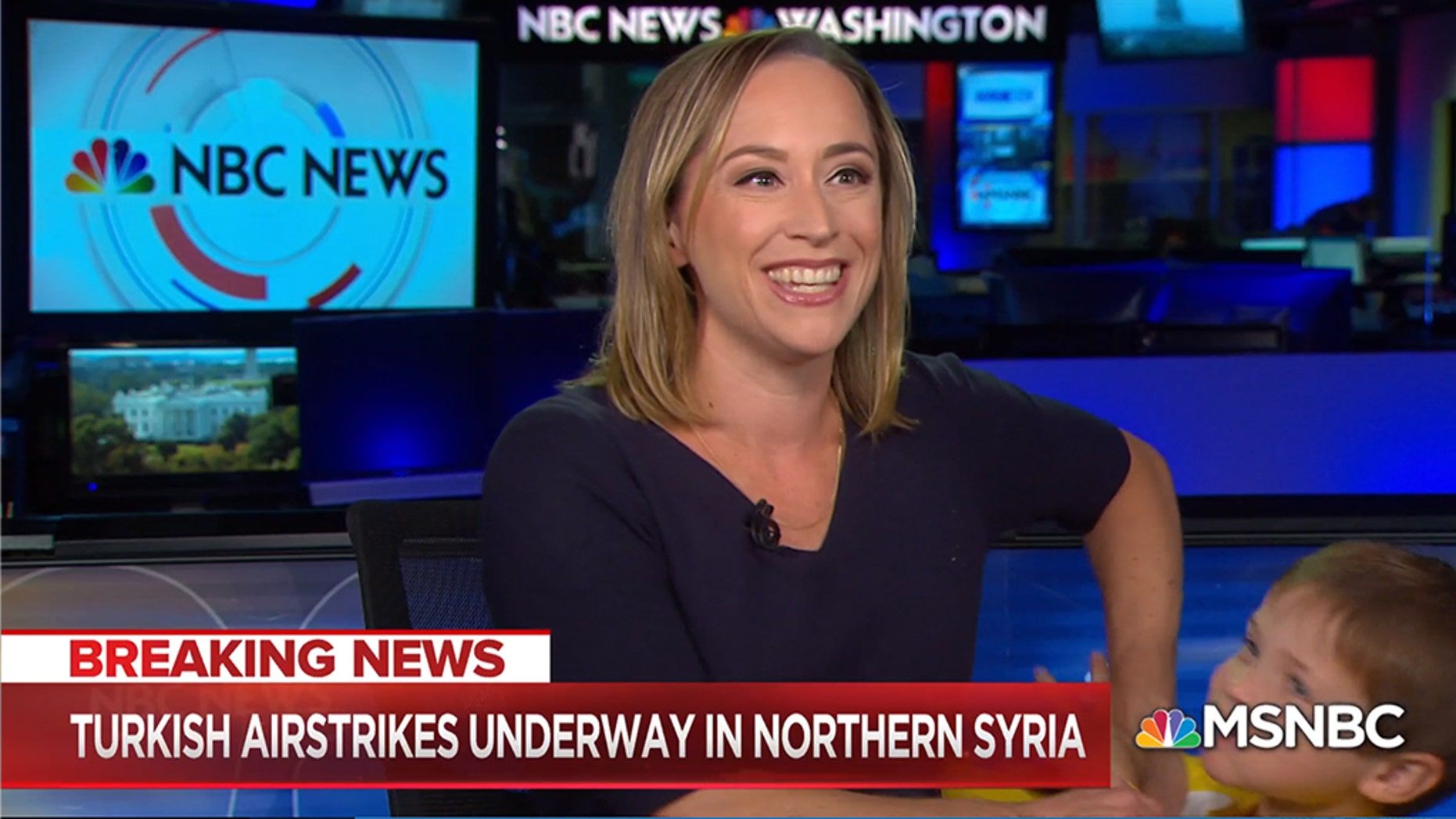 NBC reporter Courtney Kube's story on Syria had an unexpected guest weigh in during her live broadcast on Wednesday
