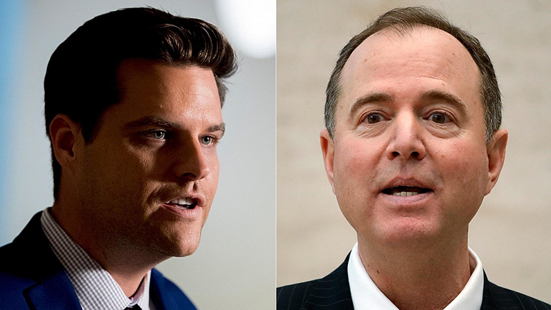 Rep. Matt Gaetz, R-Fla., (left) filed a formal ethics complaint against House Intelligence Committee Chairman Adam Schiff, D-Calif. (right.)