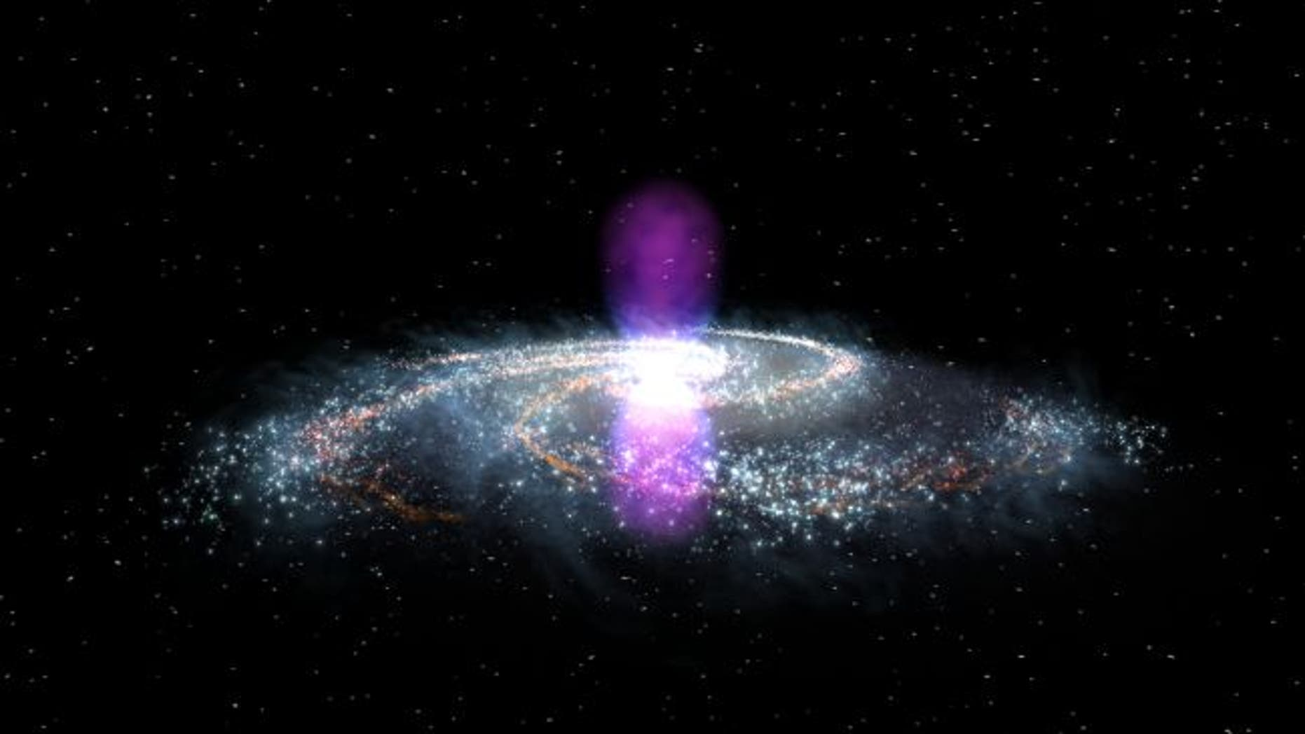 The Fermi bubbles, illustrated in gamma-ray light here, tower over the Milky Way and speak to a gargantuan cosmic explosion from the center of our galaxy. New research attempts to pinpoint that explosion's date. (Credit: NASA Goddard)