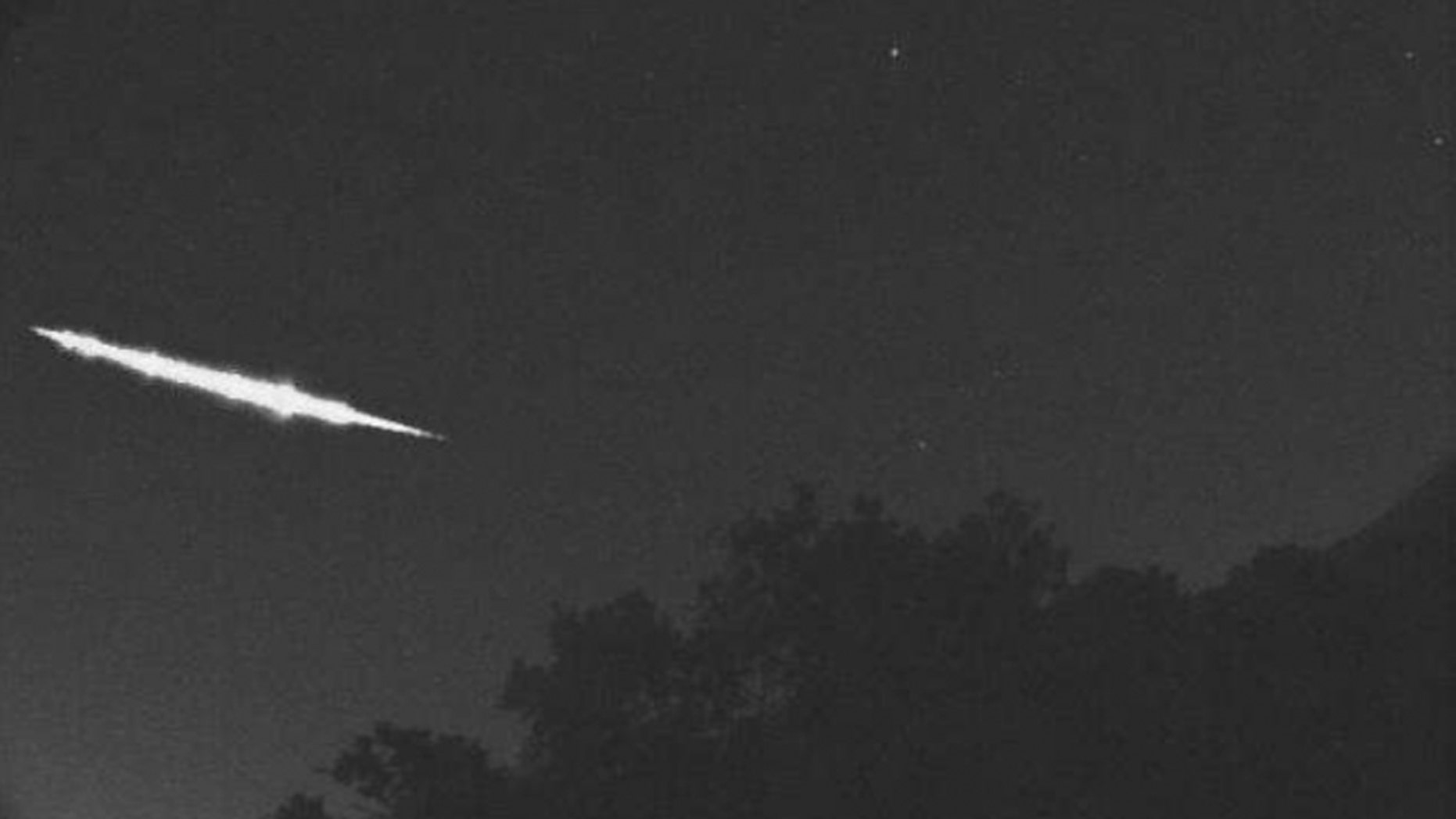 A still from a video shows a fireball passing over Kyoto, Japan after 1 a.m. on April 28, 2017. (Credit: SonataCo Network)