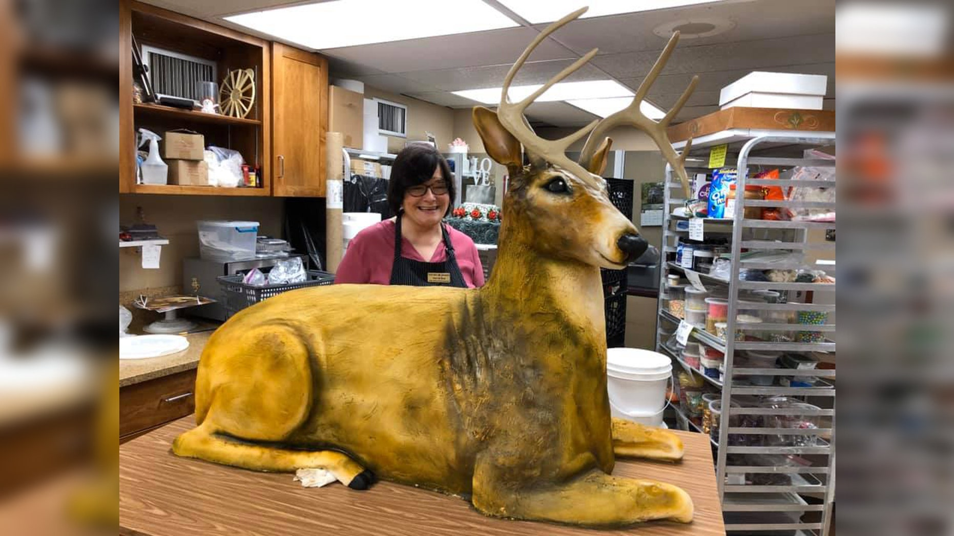 A bakery in East Earl, Pa., recently crafted a life-size, deer-shaped wedding cake for a couple who married last Saturday.