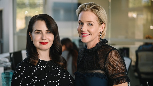 """Actresses Mia Kirshner and Penelope Ann Miller from the Lifetime original movie """"The College Admissions Scandal."""""""