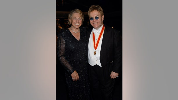 Sir Elton John and his mother Sheila Farebrother during The Fifth Annual White Tie & Tiara Ball to Benefit the Elton John Aids Foundation in Association with Chopard - Dinner at Elton John Residence in Windsor, England, United Kingdom.