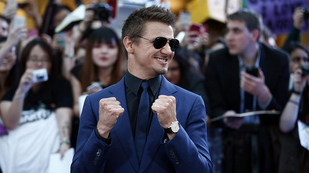 Jeremy Renner poses on the red carpet for the European premiere of the film 'Avengers: Age of Ultron' in London on April 21, 2015.