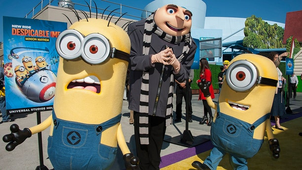 Gru and his Minions in 2014 at Universal Studios Hollywood in Universal City, Calif. A Universal Orlando actor who played the animated villain has just been fired for allegedly making a racist hand gesture while taking a photo with a young biracial girl earlier this year. (Photo by Valerie Macon/Getty Images)