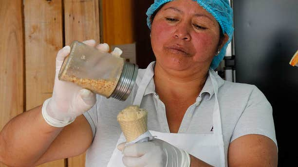 The guinea pig ice cream atMaría del Carmen Pilapana's stand is becoming one of her more popular offerings.