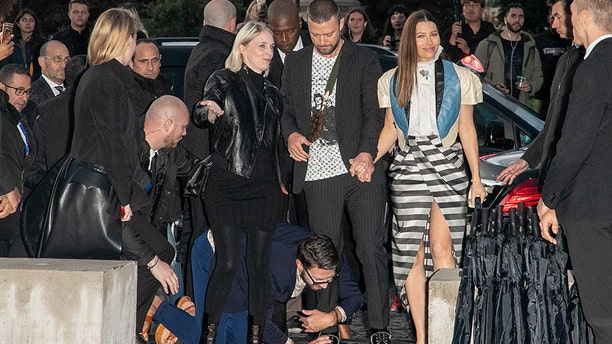 Vitalii Sediuk jumps on Justin Timberlake as he arrives to attend the Louis Vuitton Womenswear Spring/Summer 2020 show as part of Paris Fashion Week on October 01, 2019 in Paris, France. (Photo by Marc Piasecki/WireImage)