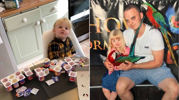 Aaron Whysall (right, with daughter Olivia) said he wasn't even angry, but rather concerned and impressed at his daughter's ability to scarf down 10 yogurts.