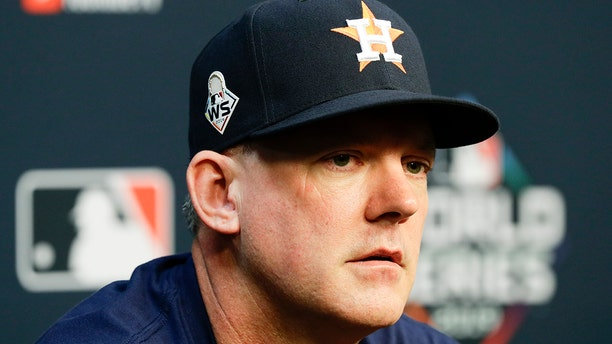 Houston Astros manager AJ Hinch speaks during a news conference for baseball's World Series Monday, Oct. 21, 2019, in Houston. (AP Photo/Eric Gay)