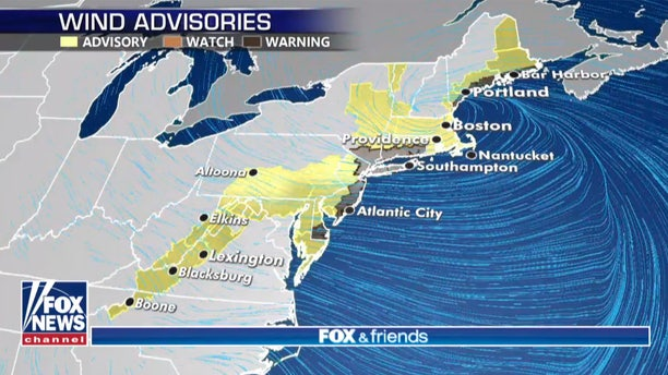 Wind advisories and warnings stretch from the Mid-Atlantic to the Northeast.